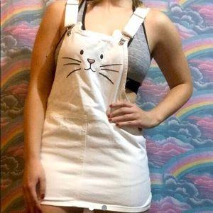 cute white cat overall skirt!